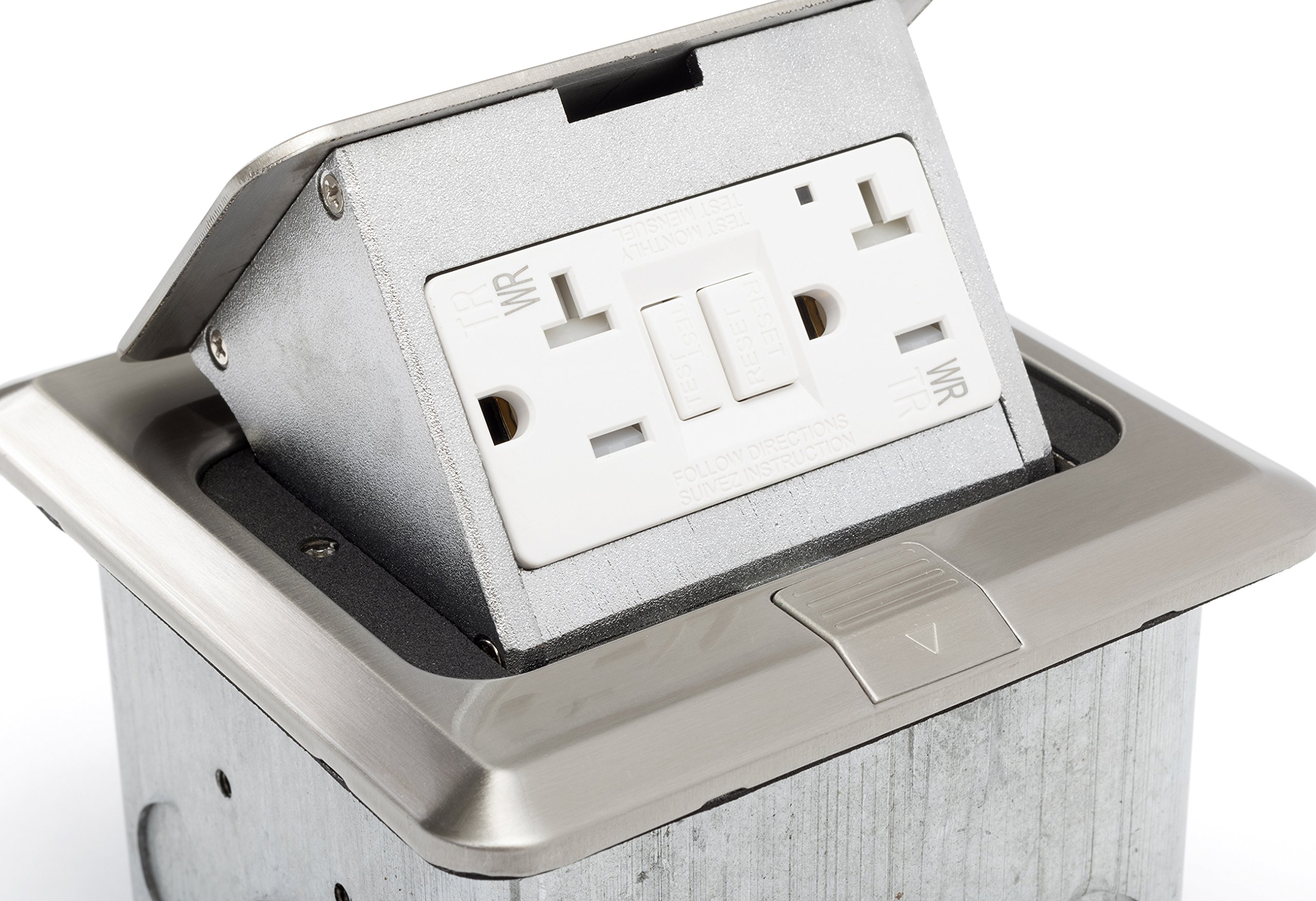 Lew Electric PUFP-SQ-SS-GFI Pop Up 20 AMP GFCI Outlet Box - Stainless Steel