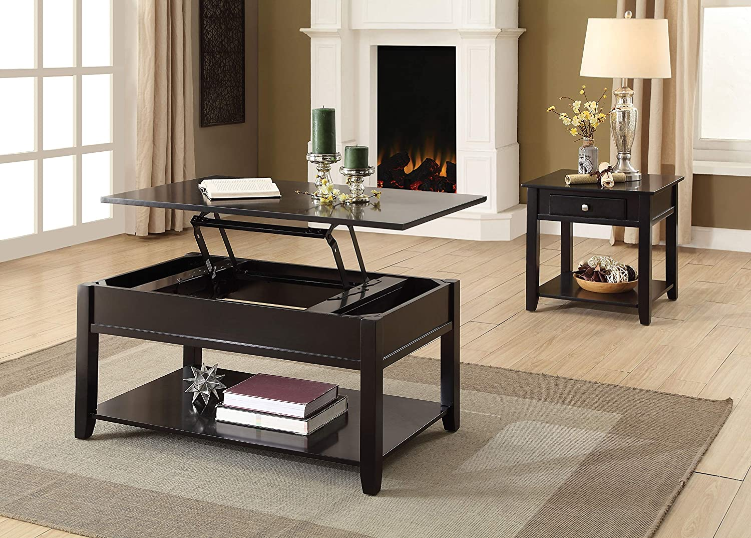 Amazon Com Acme Furniture 82950 Malachi Coffee Table With Lift Top Black Furniture Decor