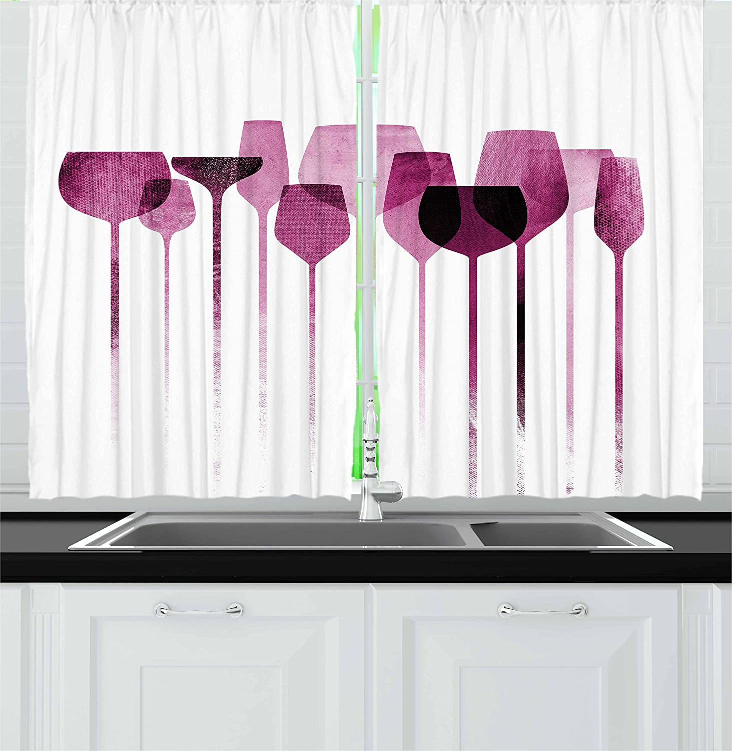 Amazon Com Ambesonne Wine Kitchen Curtains Conceptual Collage Artwork With Paper Textured Party Glasses Alcohol Drink Print Window Drapes 2 Panel Set For Kitchen Cafe Decor 55 X 39 Fuchsia Purple Home
