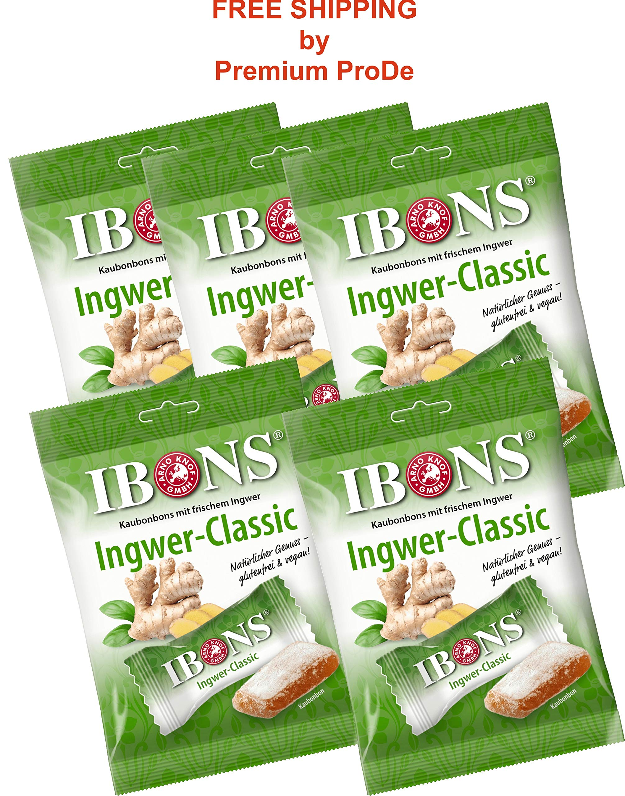 5 packs x 92 g Classic Ginger Candies - Ginger Chewy Sweets, IBONS / Germany by IBONS