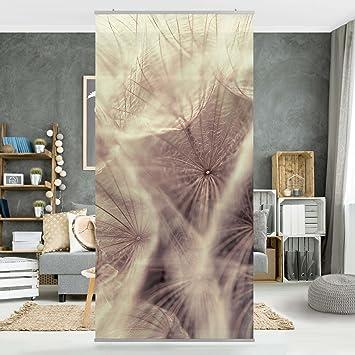 Flächenvorhang Set Detailreiche Pusteblumen Makroaufnahme Mit Vintage Blur  Effekt 250x120cm   Schiebegardine Schiebevorhang Raumtrenner Vorhang  Raumteiler