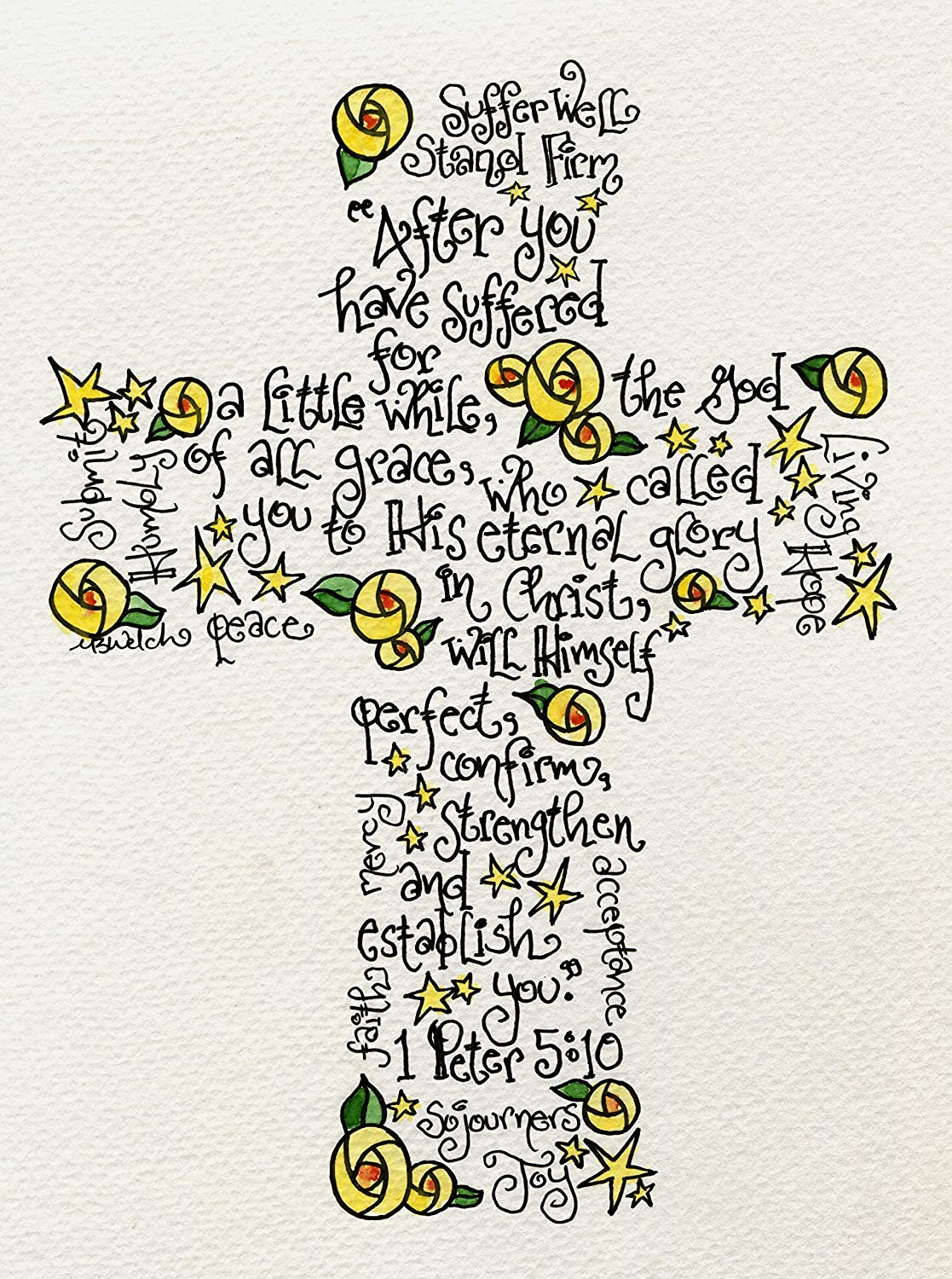 Suffering Cross 5x7 - Christian Get Well Soon or Sympathy Gift with 1 Peter 5:10