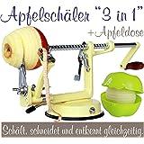Profi Alu- Apfelschäler Apfelschneider Apfelentkerner Schälmaschine mit Apfeldose, in Vanilla-Gelb, original Made for us