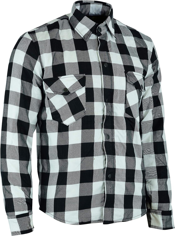 BUSA chemise Moto avec une doublure enti/èrement renforc/é en Kevlar et une protection amovible Noir//Blanc 96cm M UnTuck