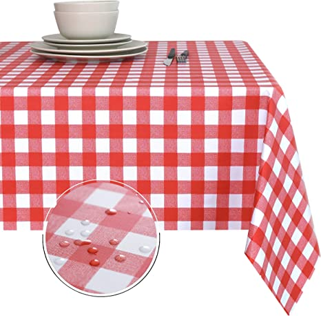 Amazon Com Obstal 100 Waterproof Pvc Table Cloth Oil Proof Spill Proof Vinyl Rectangle Tablecloth Wipeable Table Cover For Outdoor And Indoor Use Furniture Decor