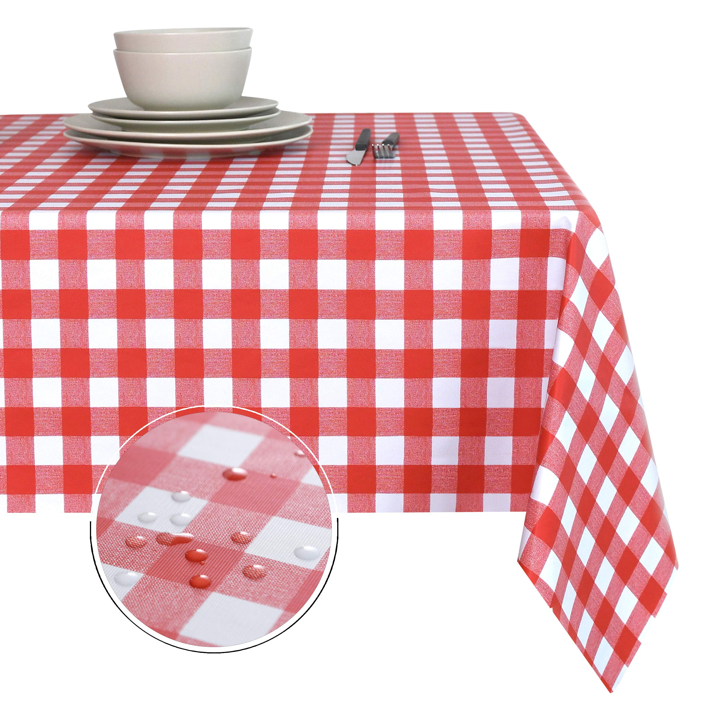 Obstal 100% Waterproof PVC Table Cloth, Oil-Proof Spill-Proof Vinyl Rectangle Tablecloth, Wipeable Table Cover for Outdoor and Indoor Use by Obstal