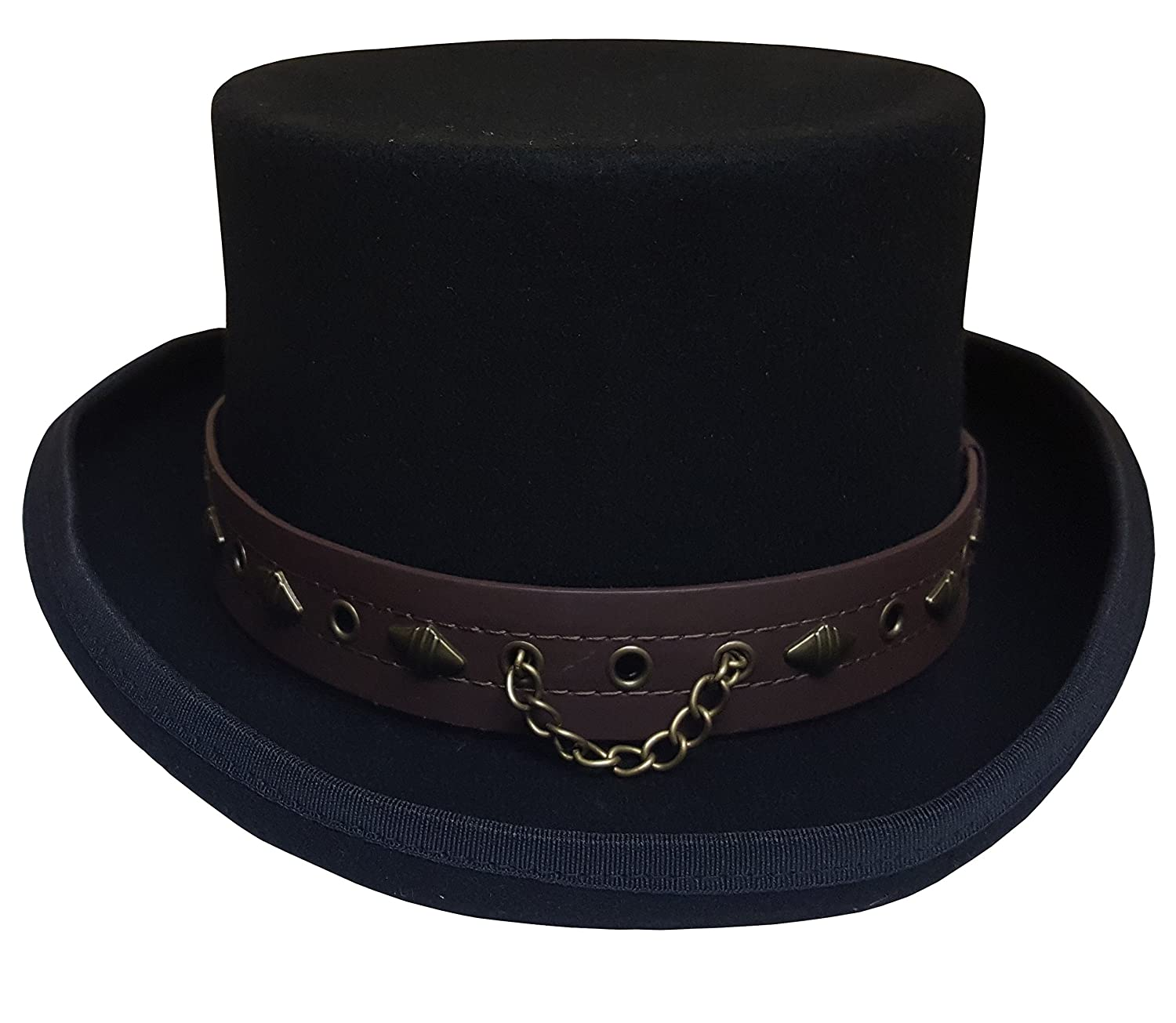Deluxe Adult Costumes - Wool Victorian Western Jacob Frye Syndicate costume top hat with leather band and chain.