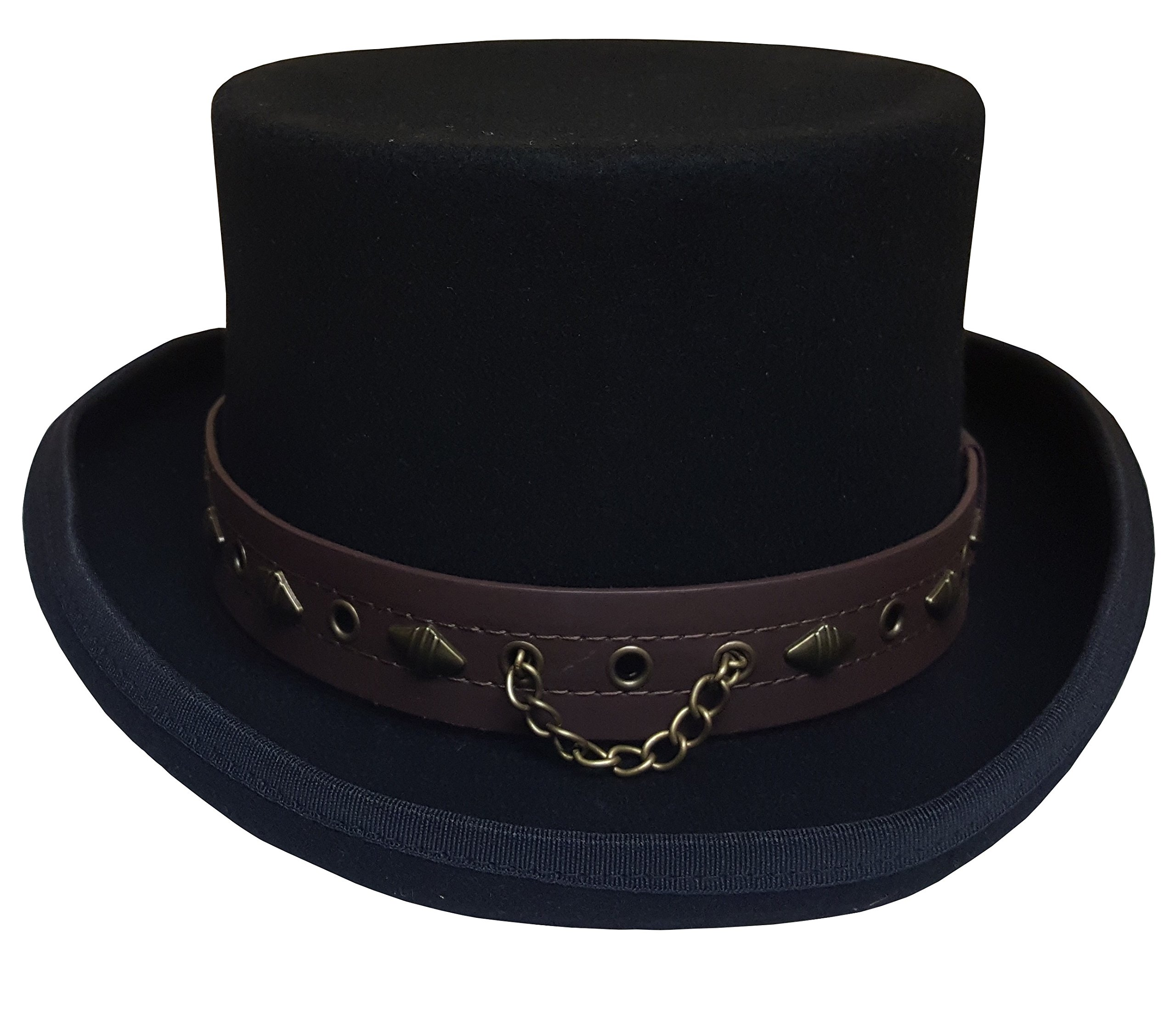 100% Wool Victorian Western Steampunk Costume Top Hat with Leather Band and Chain Black 3