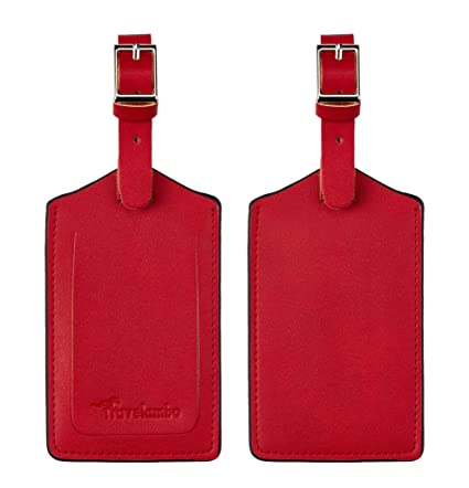 8a04942ad18a Travelambo Leather Luggage Bag Tags (Red 2282 Deep Red)