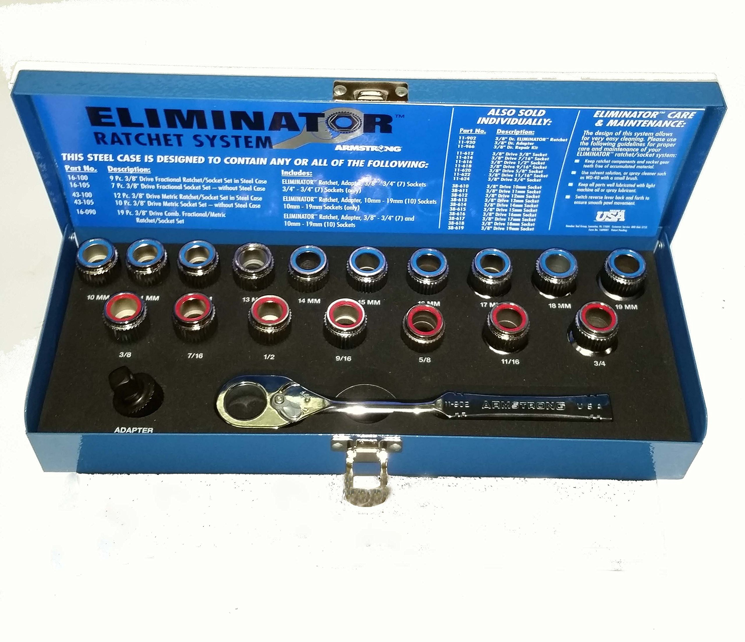 16-090 Armstrong (Top USA Brand) Eliminator MET/SAE Ratcheting Set