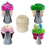 Cupcake Stars & Swirls Nozzle Set Extra Large, with Coupler plus Strands Tip for Icing, Cake Decoration & Sugarcraft