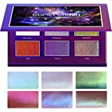 SYZYGY Eyeshadow Palette, Duochrome Highlighter Eye Makeup Palette, Holographic+Shimmer+Sparkly+Glitter Eyeshadow Vegan Cosmetics, 6 Multicolours
