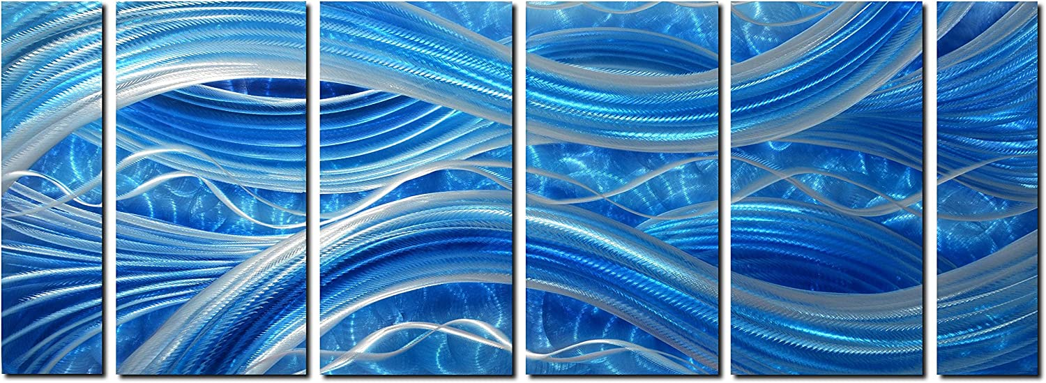 """MyArton Handmade Abstract Metal Wall Art with Soft Color, Large Scale Decor in Blue Line Design, 3D Artwork for Indoor Outdoor Wall Decorations, 6-Panels Metal Art Measure 24""""x 65"""""""