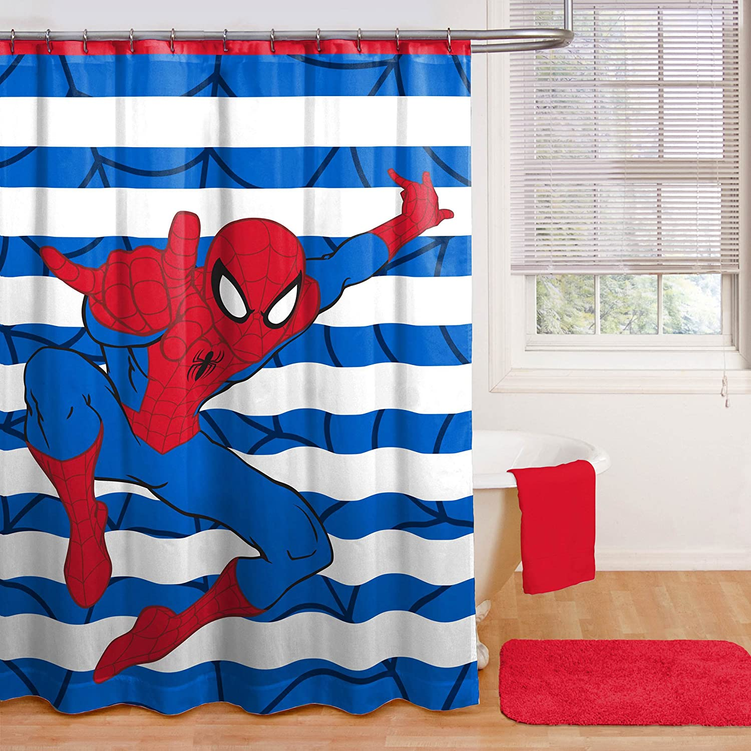 Amazon Com Spiderman Shower Curtain Hooks Bath Towel Set And