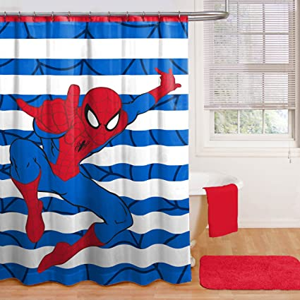 Amazon Spiderman Shower Curtain Hooks Bath Towel Set And Foam