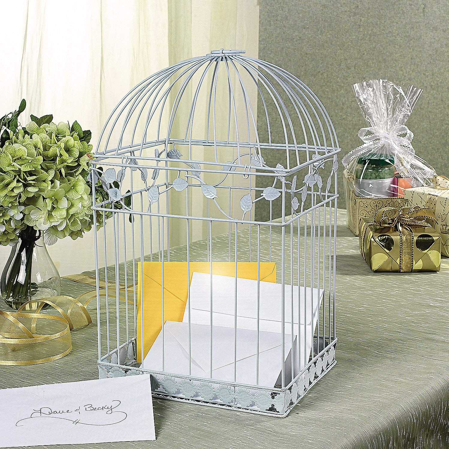 Fun Express White Birdcage Wedding Gift Card Holder by Fun Express
