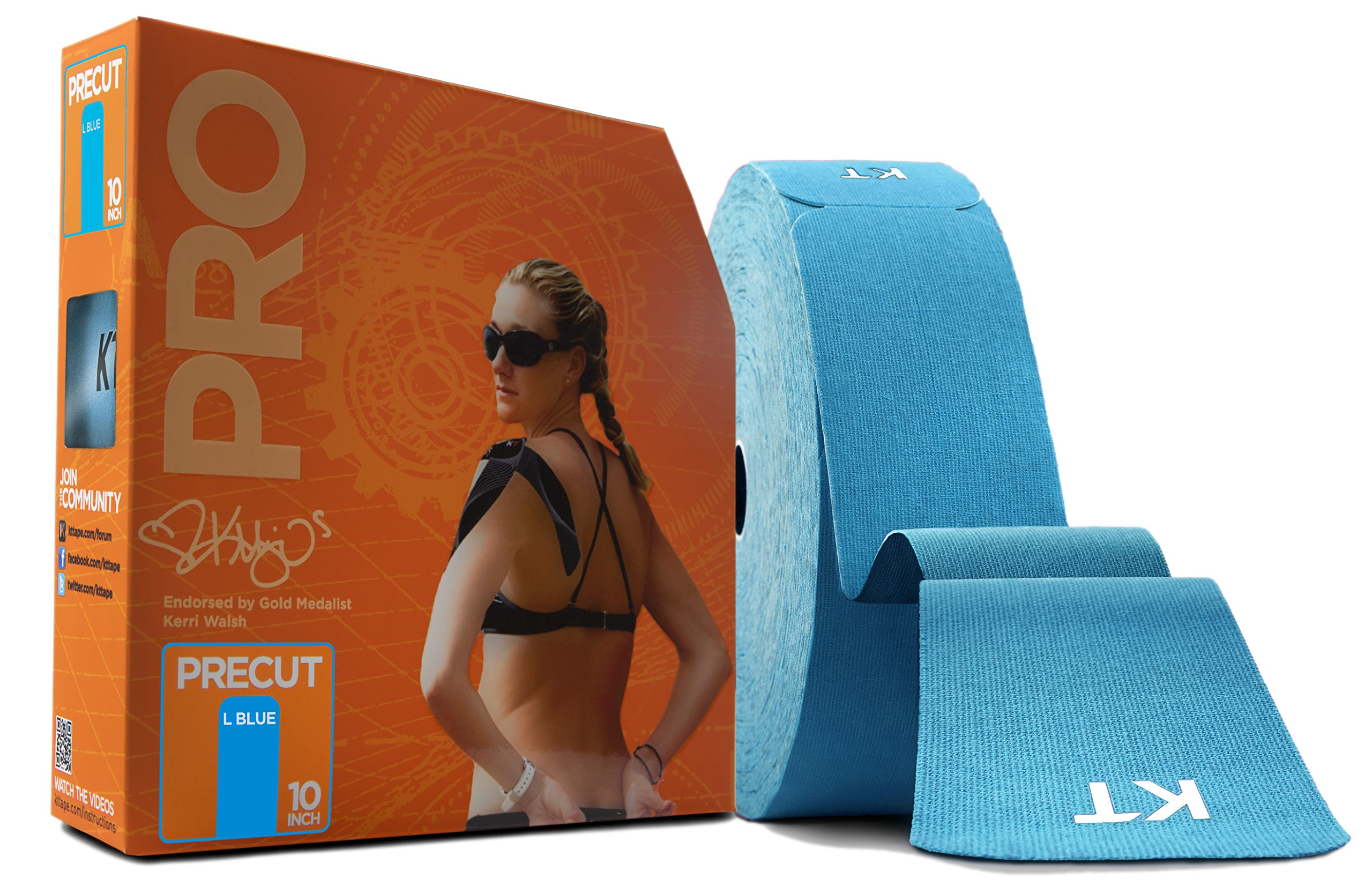 KT TAPE PRO Synthetic Elastic Kinesiology Therapeutic Tape, Jumbo 150 Precut 10 Inch Strips, Laser Blue