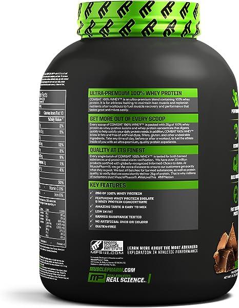 Muscle Pharm Combat 100% Whey Protein Powder, Chocolate Milk, 5 Pound