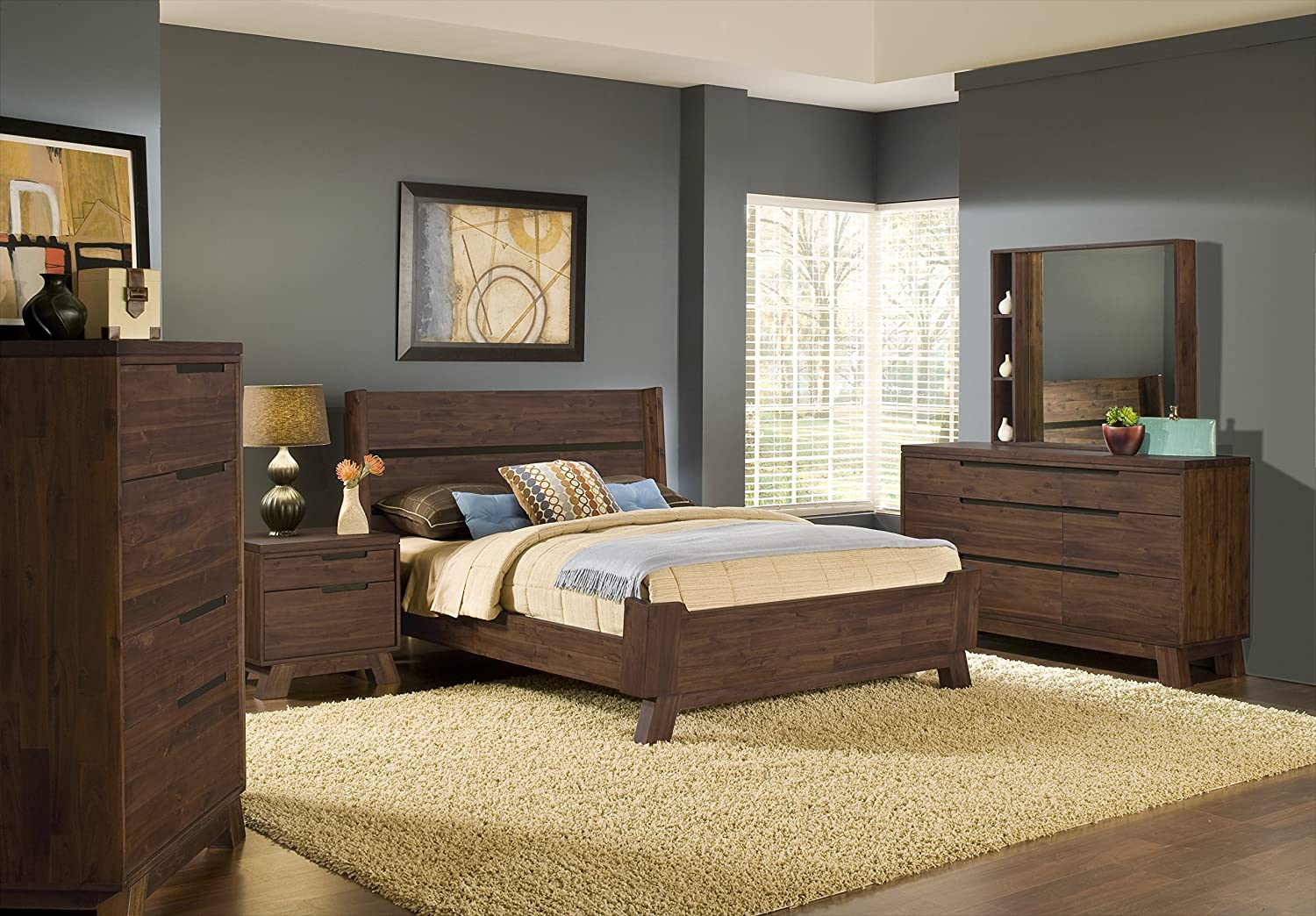 Amazon com  Modus Furniture 7Z48F5 Portland Solid Wood Platform Bed  Queen   Walnut  Kitchen   Dining. Amazon com  Modus Furniture 7Z48F5 Portland Solid Wood Platform