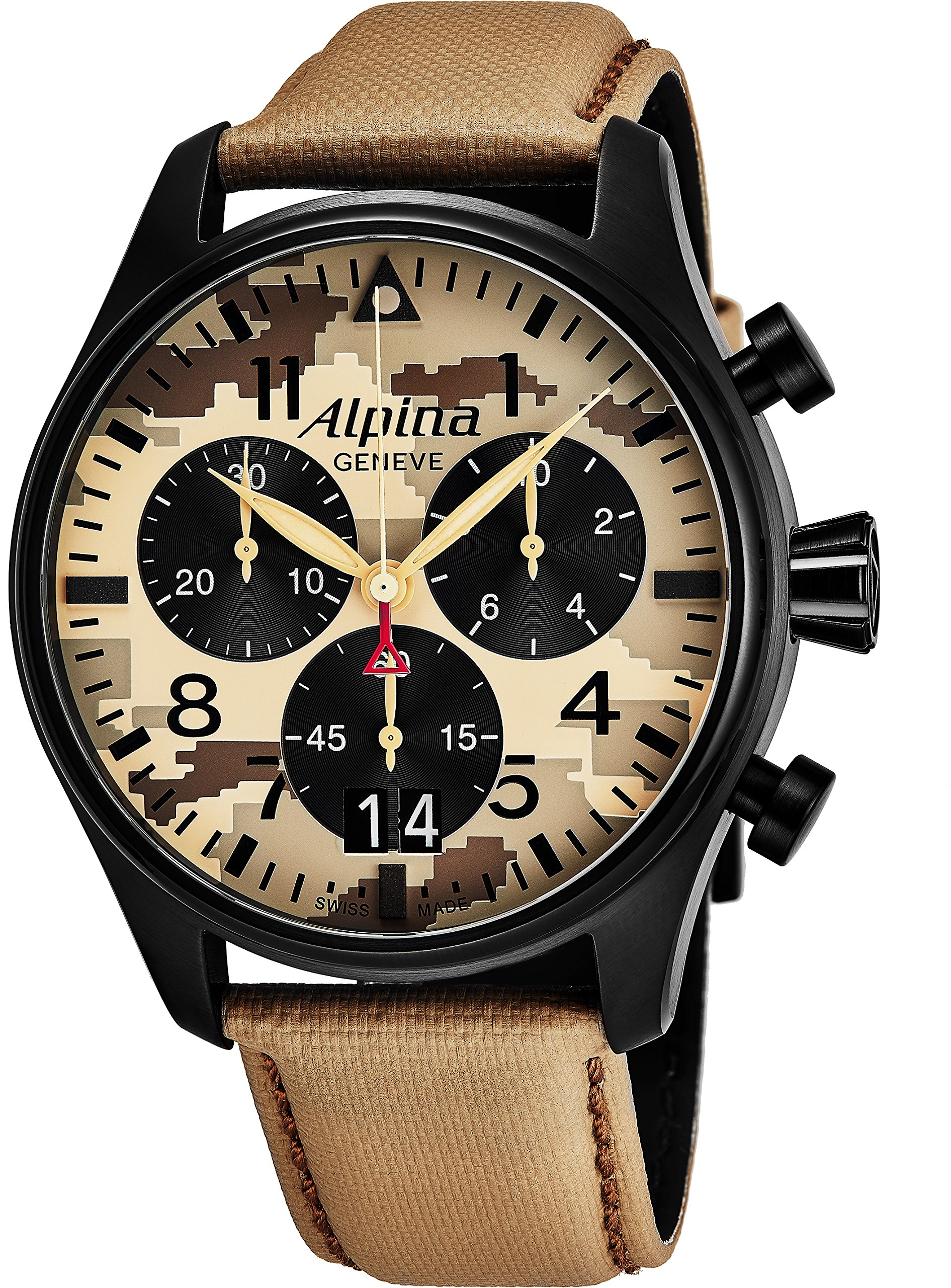 Alpina Startimer Pilot Chronograph Big Date Mens Black Stainless Steel Watch - Camouflage Face Brown Leather Band Analog Swiss Quartz Chronograph Watch For Men AL-372MLY4FBS6