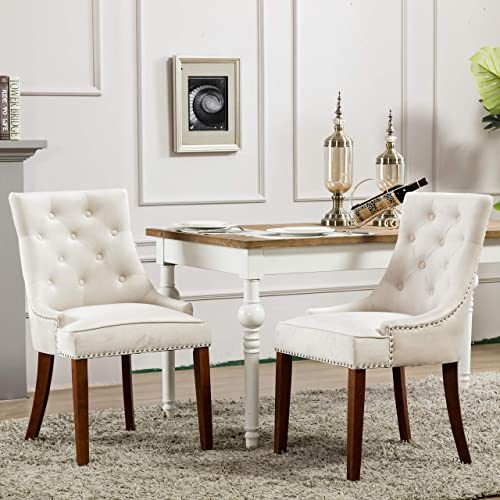 Per-Home Modern Tufted Upholstered Velvet Fabric Dining Chairs with Nailhead Set of 2 Cream