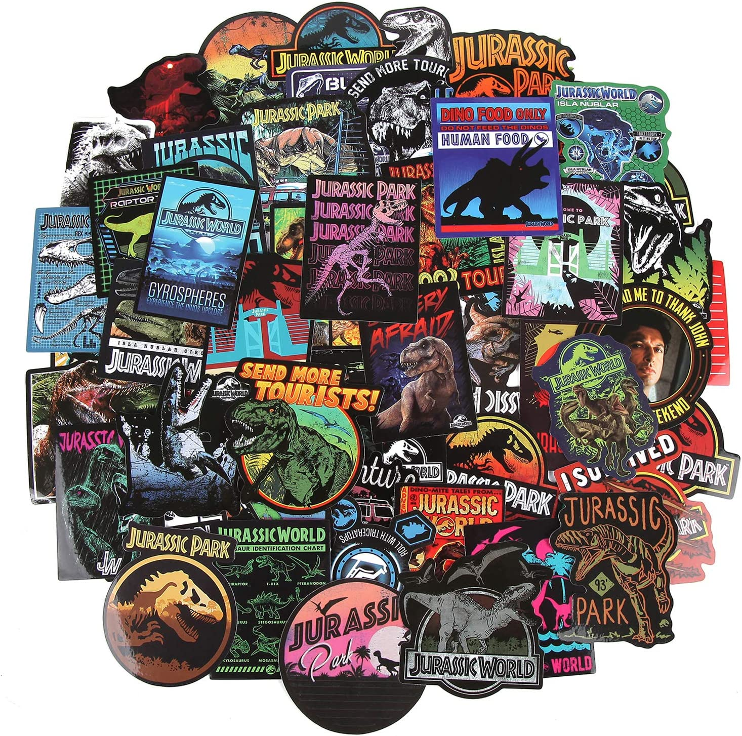 Jurassic Park Dinosaur Stickers 75 pcs/Pack Stickers Variety Vinyl Car Sticker Motorcycle Bicycle Luggage Decal Graffiti Patches Skateboard Stickers for Laptop Stickers for Kid and Adult