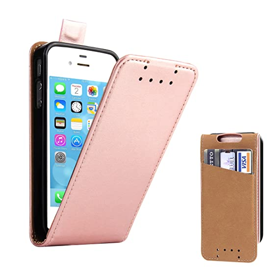 timeless design e3d76 cf120 Supad iPhone 4S Case, iPhone 4 Leather Flip Case Credit Card Holder,  Shockproof Phone Cover for Apple iPhone 4s / 4 (Rose Gold)