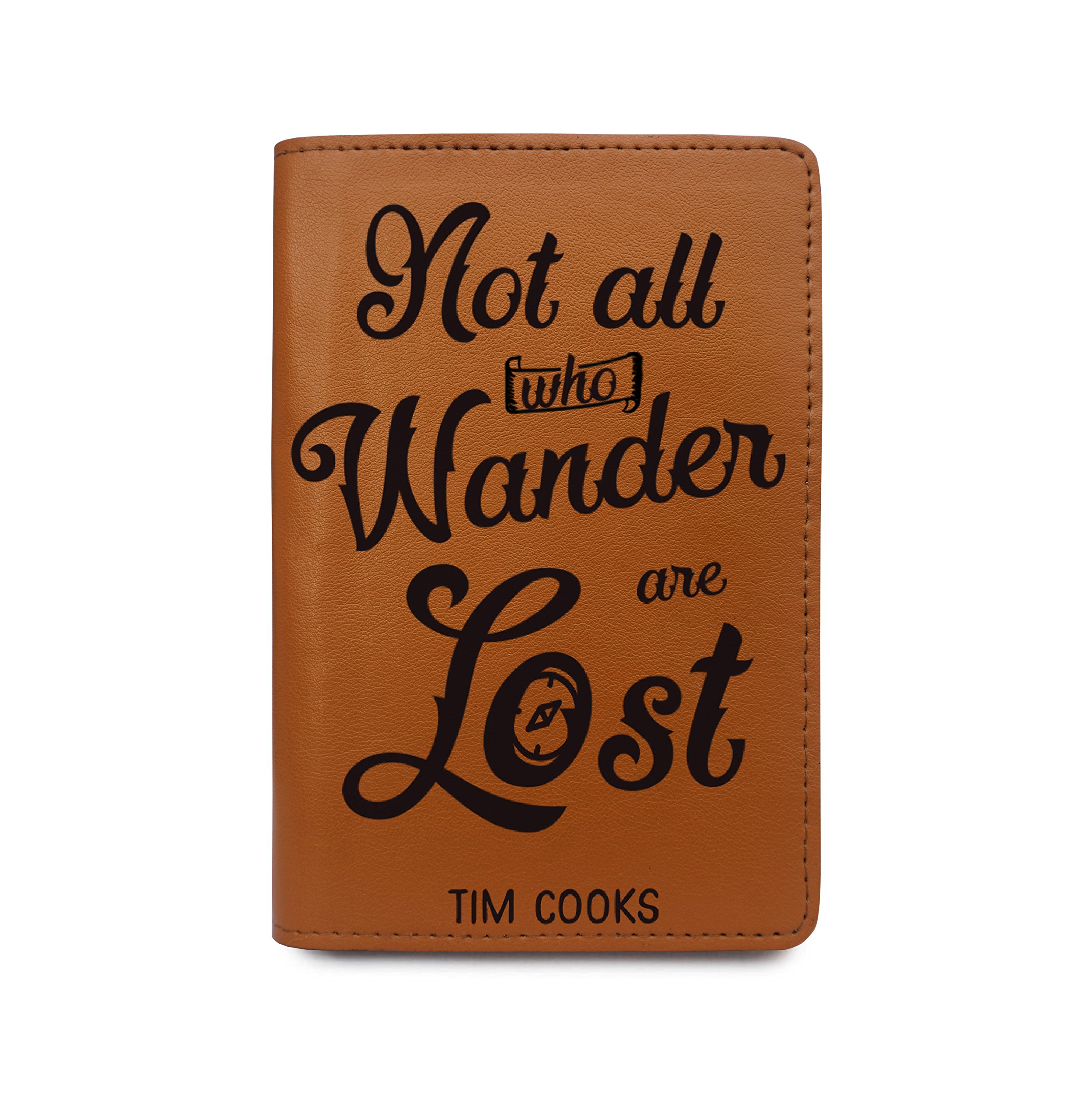 Personalized Leather Passport Cover - Not All Who Wander Are Lost