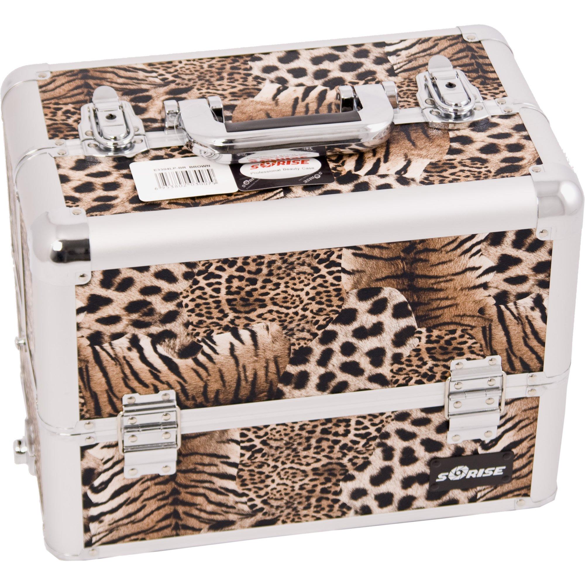 Sunrise Dona Heavy Duty Makeup Case Professional Nail Travel Organizer Box, Leopard, 9 Pound by SunRise