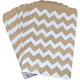Outside the Box Papers Kraft Brown and White Chevron Treat Sacks 5.5 x 7.5 48 Pack Kraft Brown, White