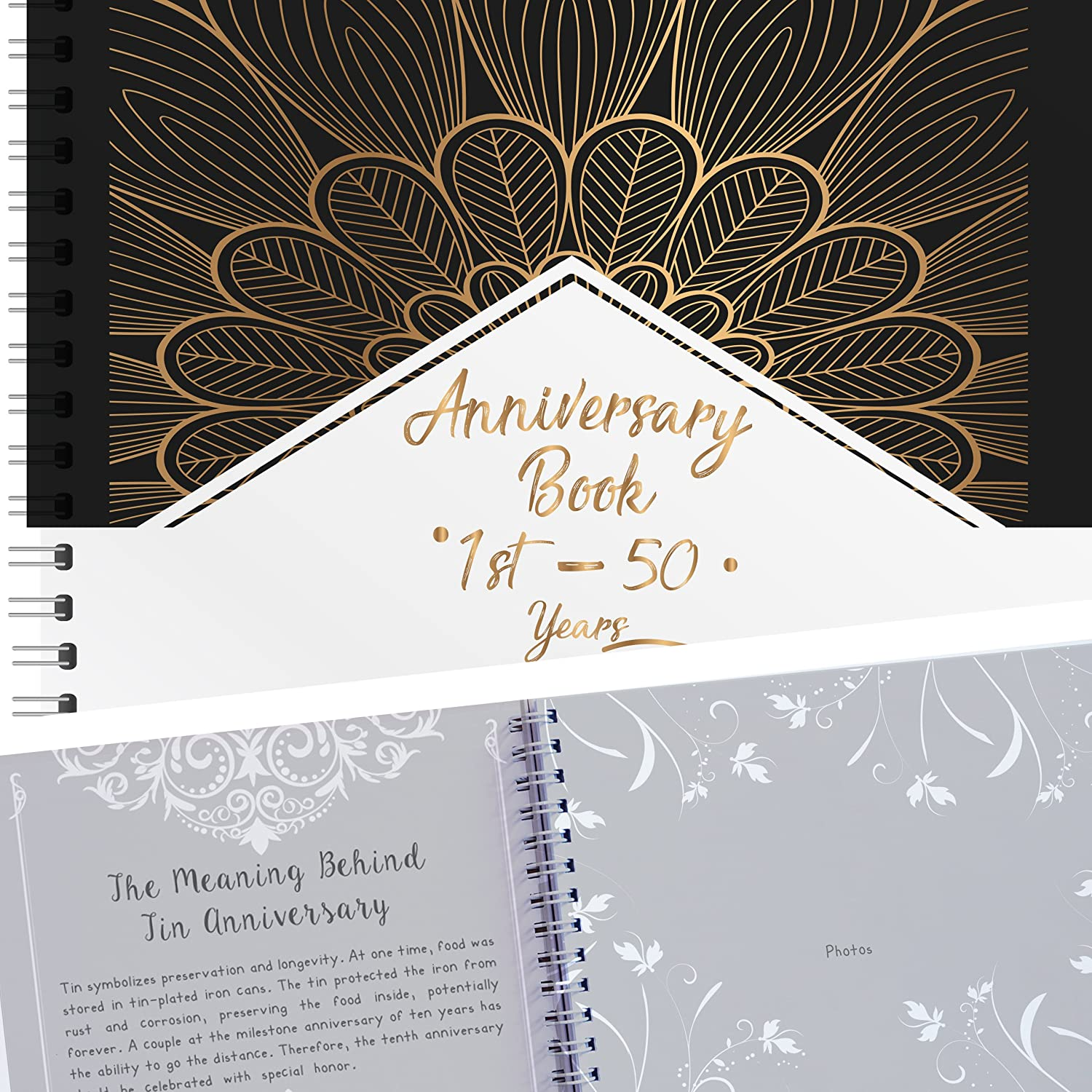 Anniversary Book - A Hardcover Wedding Memory Album To Document Wedding Anniversaries From The 1st To 50th Year! Unique Couple Gifts For Him & Her - Personalized Marriage Presents For Husband & Wife Unconditional Rosie ANNIVERSARYBOOKB