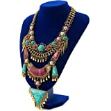 Miraculous Garden Womens Vintage Alloy Silver/Gold Long Boho Bohemian Necklace Ethnic Tribal Boho Necklace Geometry Red Turquoise Beads Statement Necklace