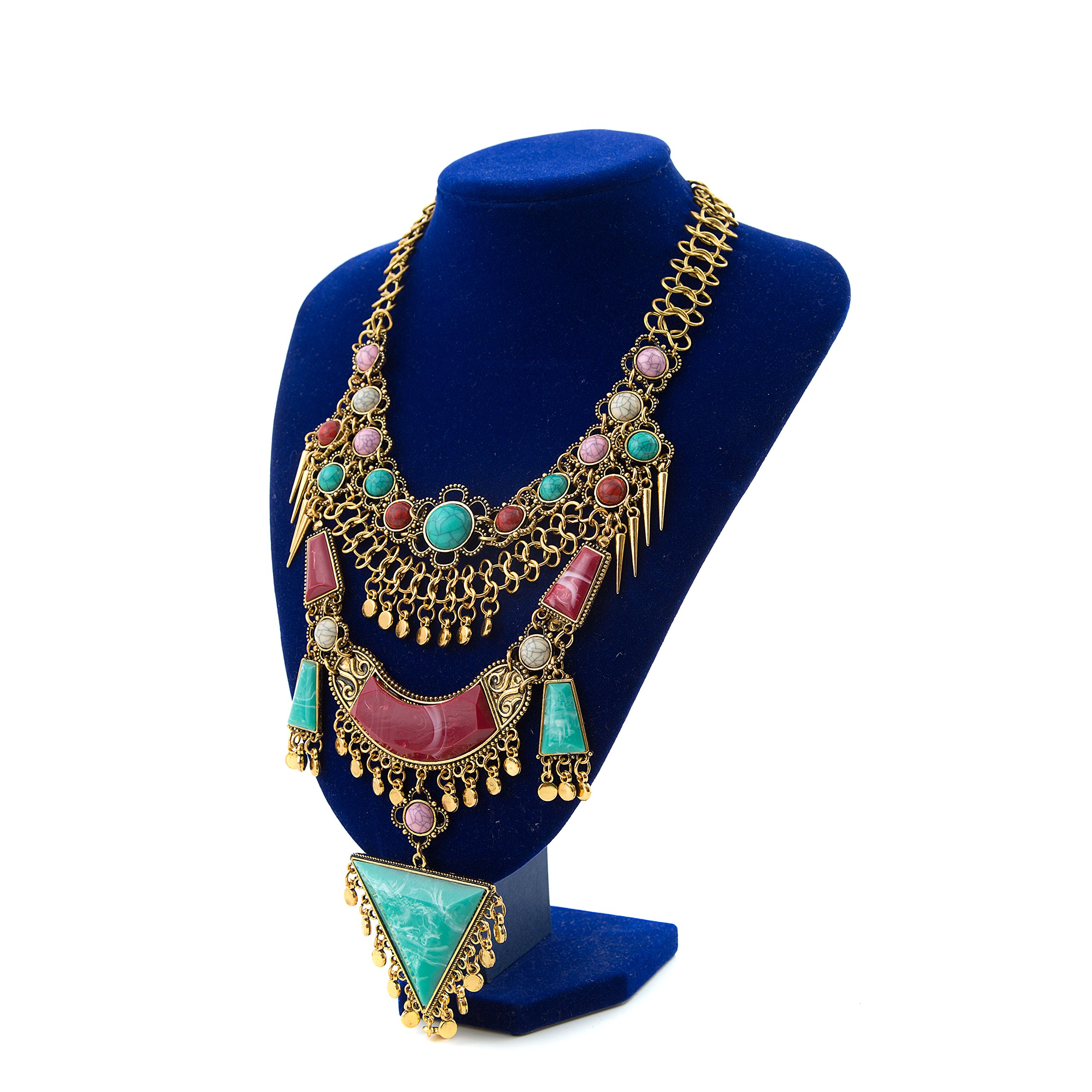 Miraculous Garden Womens Vintage Alloy Silver/Gold Long Boho Bohemian Necklace Ethnic Tribal Boho Necklace Geometry Red Turquoise Beads Statement Necklace (Antique Gold)