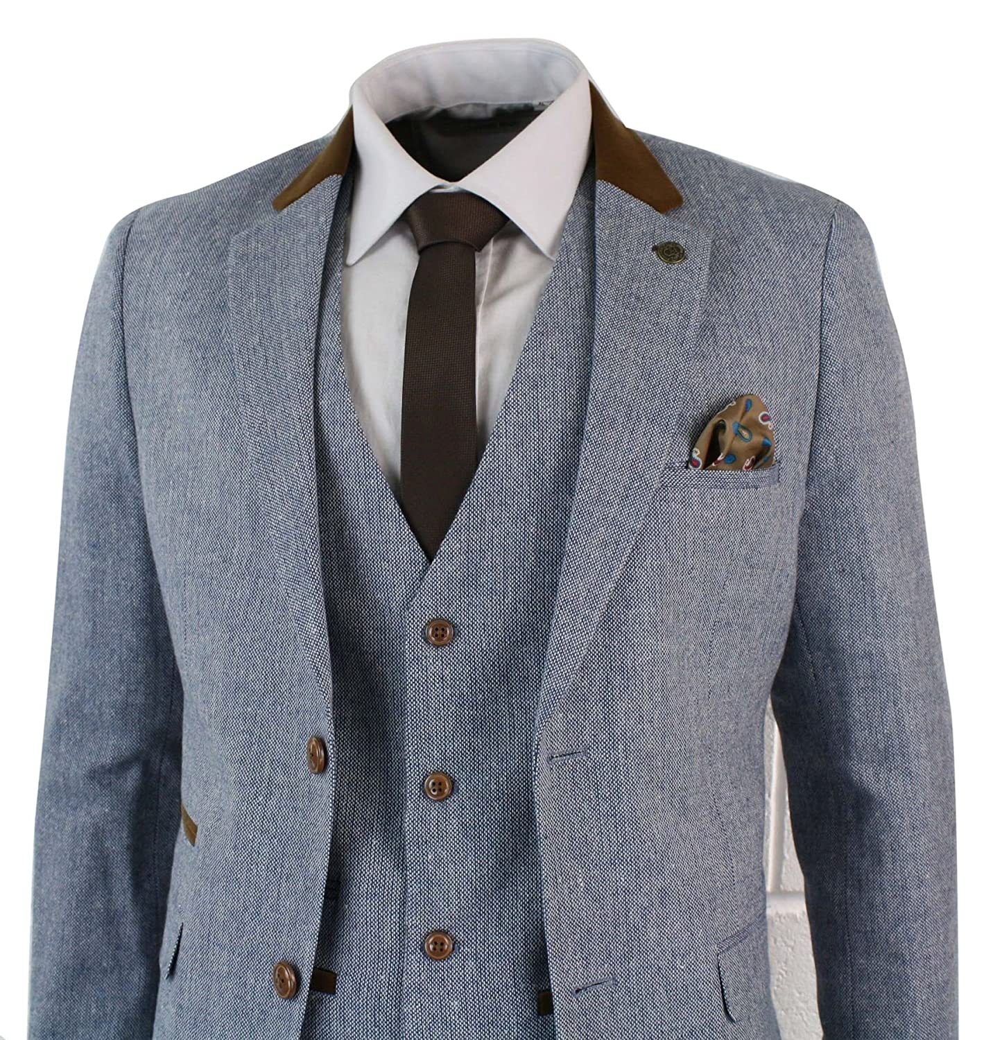 92ac0423b4 Clothes, Shoes & Accessories Mens 3 Piece Herringbone Tweed Light Blue Sky  Brown Slim Fit Suit ...