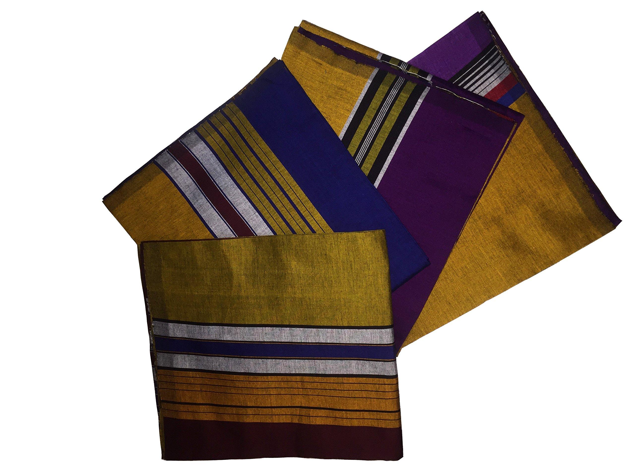 ReenaHANDS Lungi Sarong Mens Handloom Lungi Sarong 100% Cotton. Stitched Tube Sarong. Assorted Color/Design by ReenaHANDS (Image #3)