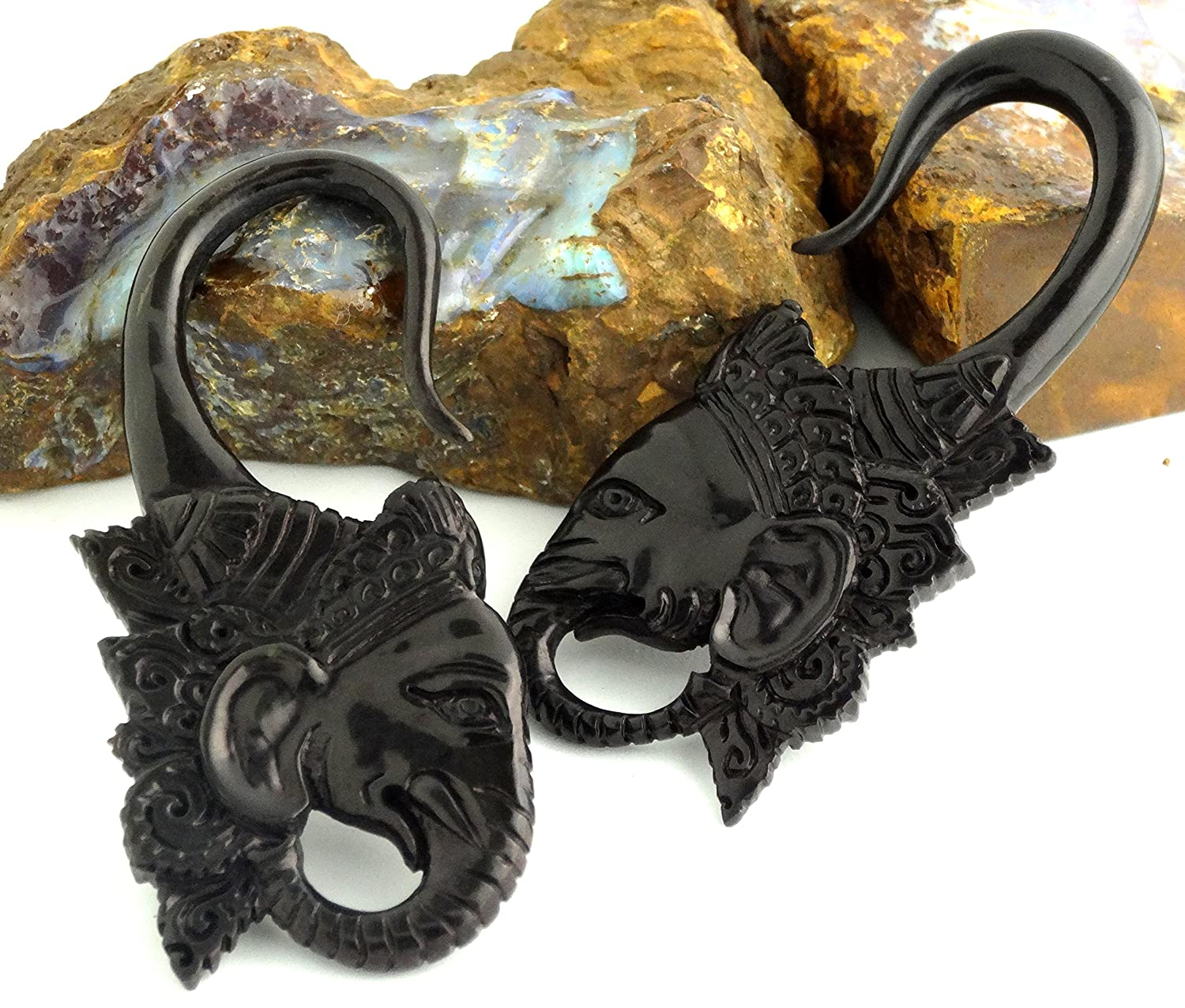Pair of Hand Carved Organic Horn Bone Hanging Body Piercing Jewelry Animals Guardian Wolf Dragon Ganesh Snake Seahorse