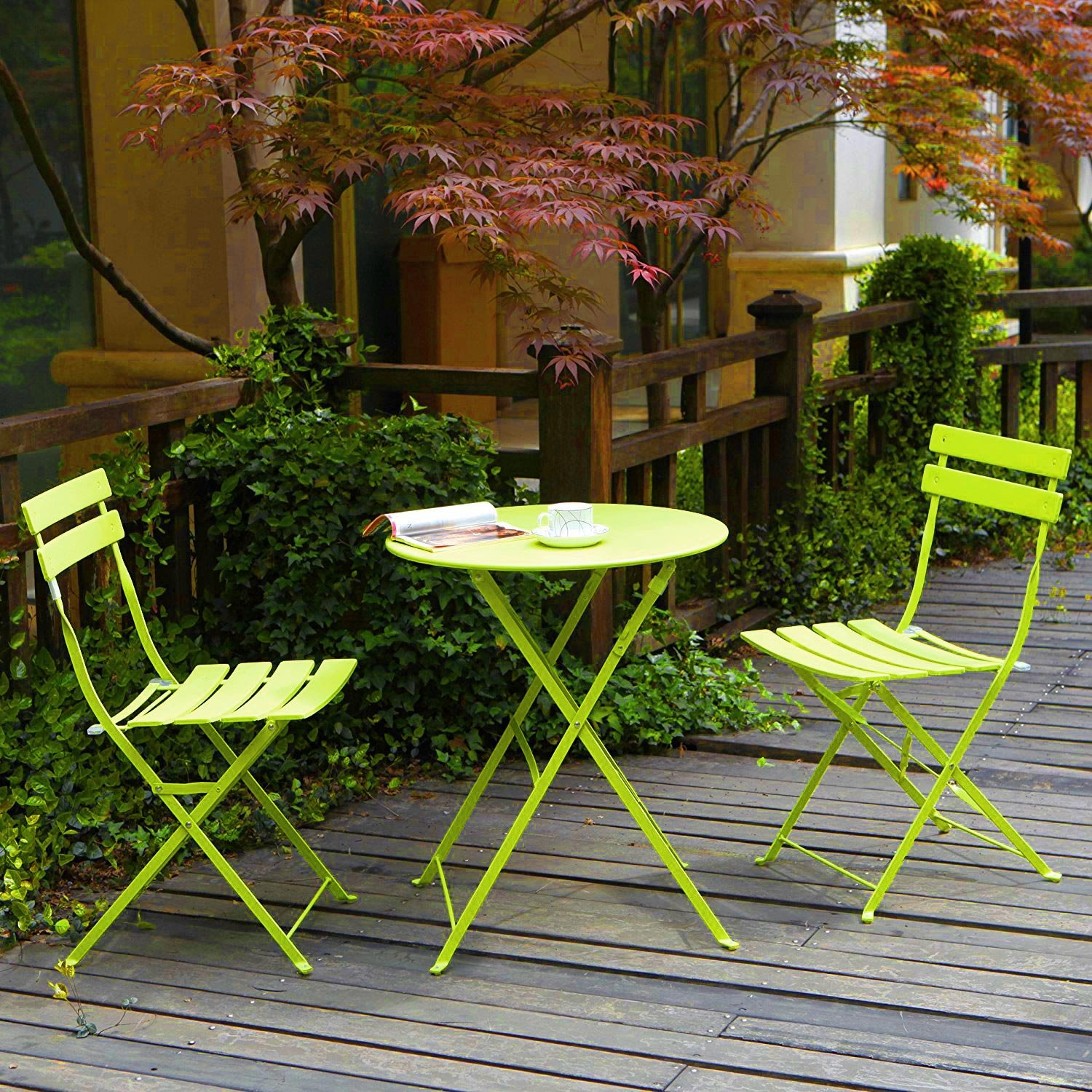 Grand patio 3-Pack Sling Glider Folding Steel 2 Chairs Round Table Indoor Corner Sets,Vivid Green by Grand patio (Image #2)