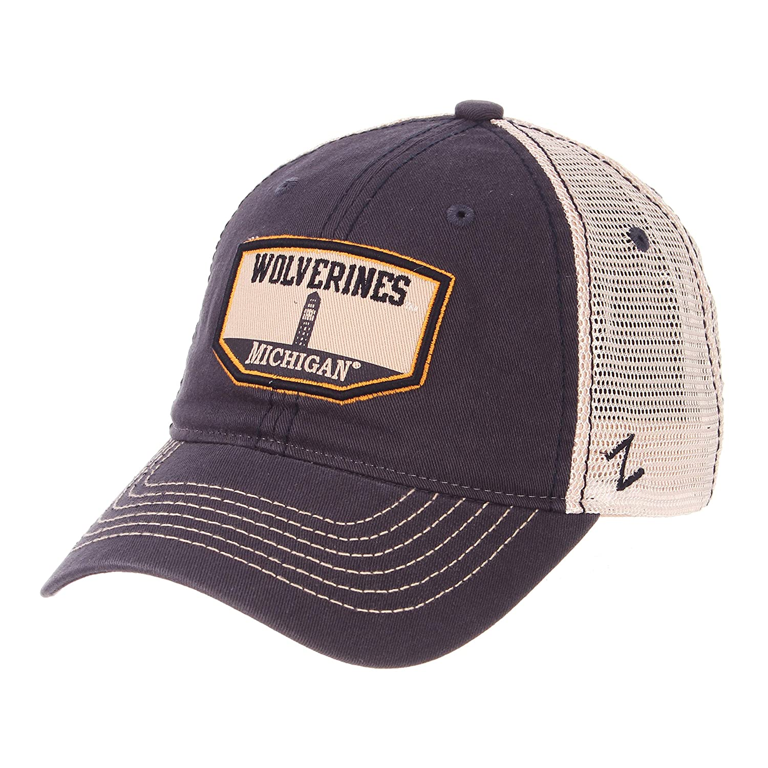 Zephyr NCAA Michigan Wolverines Mens Trademark Relaxed Cap Adjustable Washed Team//White