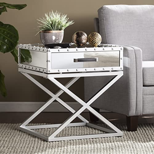 Lazio Studded Mirrored End Table – Mirror Finish w Matte Silver Trim – Glam Design
