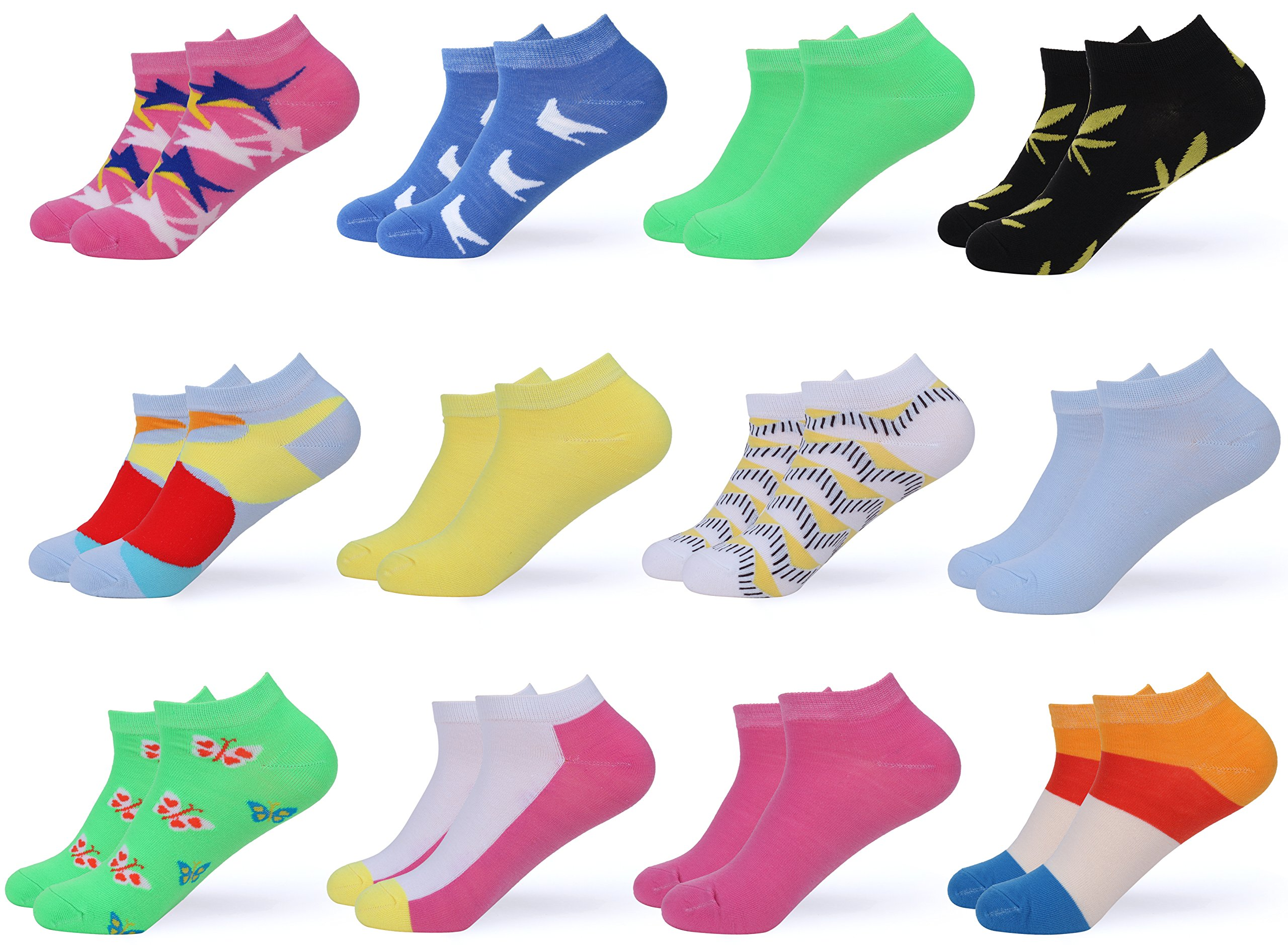 Gallery Seven Women's Ankle Socks - Low Cut Colorful Socks For Women - Size 9-11 - 12 Pack (Style - 1)