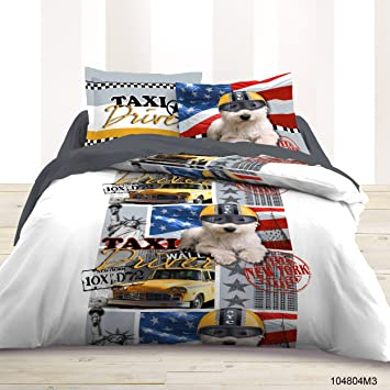 Housse De Couette 220x240 Cm Taies New York Usa Taxi Dog Amazon