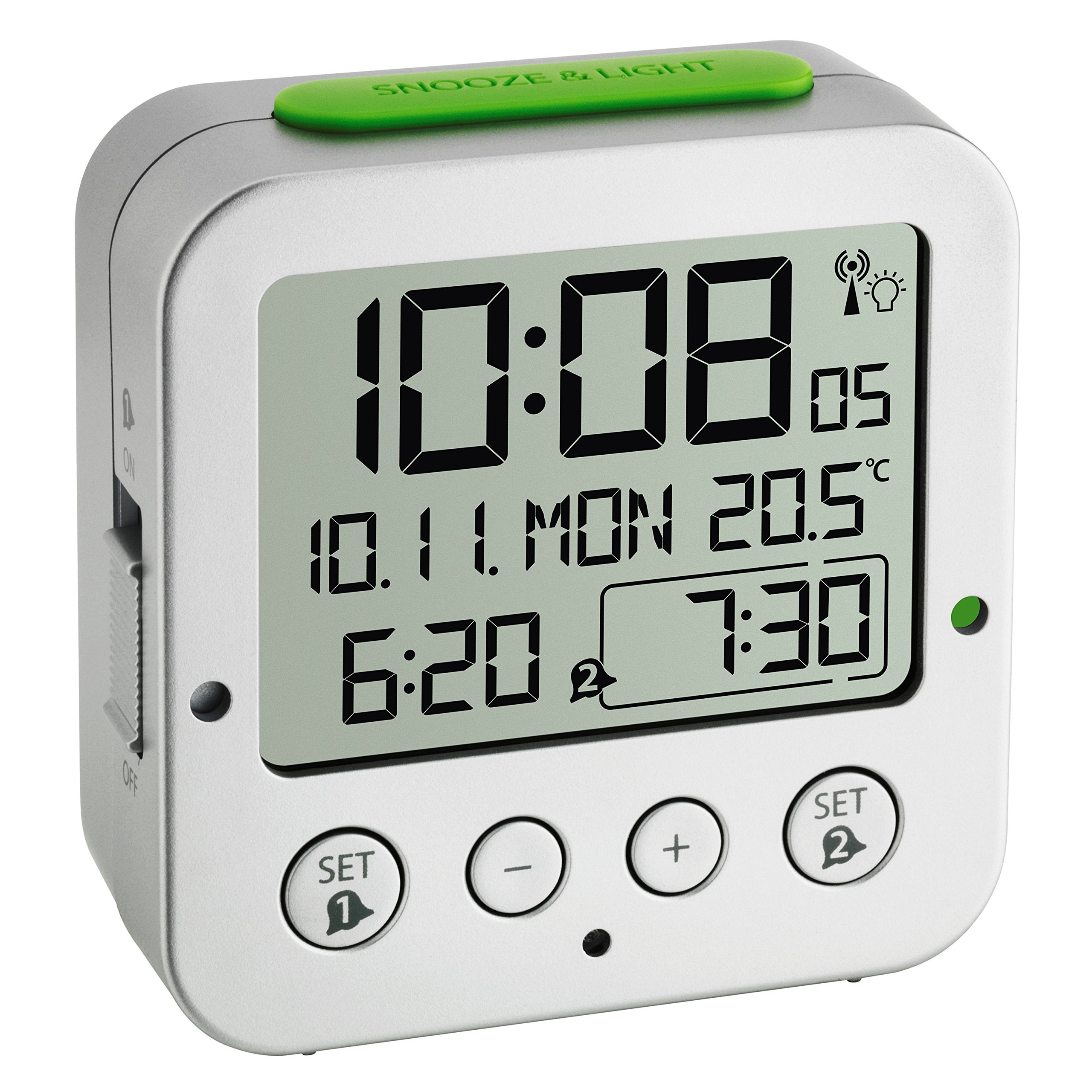 Blooming Weather ''Bingo Funkwecker'' Digital Alarm Clock with Radio-Controlled Time, Plastic, Silver by Blooming Weather