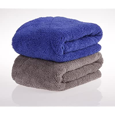 "UTowels' Ultra Plush Thick Microfiber Auto Detailing Towel - 15"" x 24"" - 560 GSM (4pcs, 2 Blue & 2 Gray): Automotive"