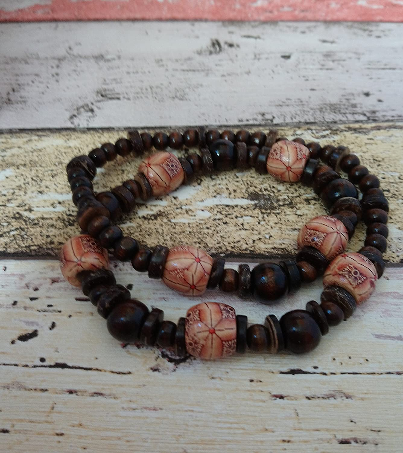 Brown boho wooden beaded chunky necklace with coconut shell spacers