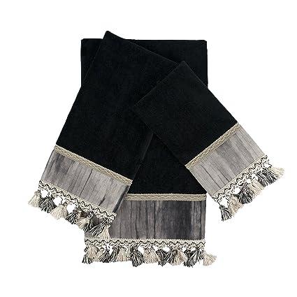 Sherry Kline Ambiance Black 3 Piece Embellished Set Decorative Towels