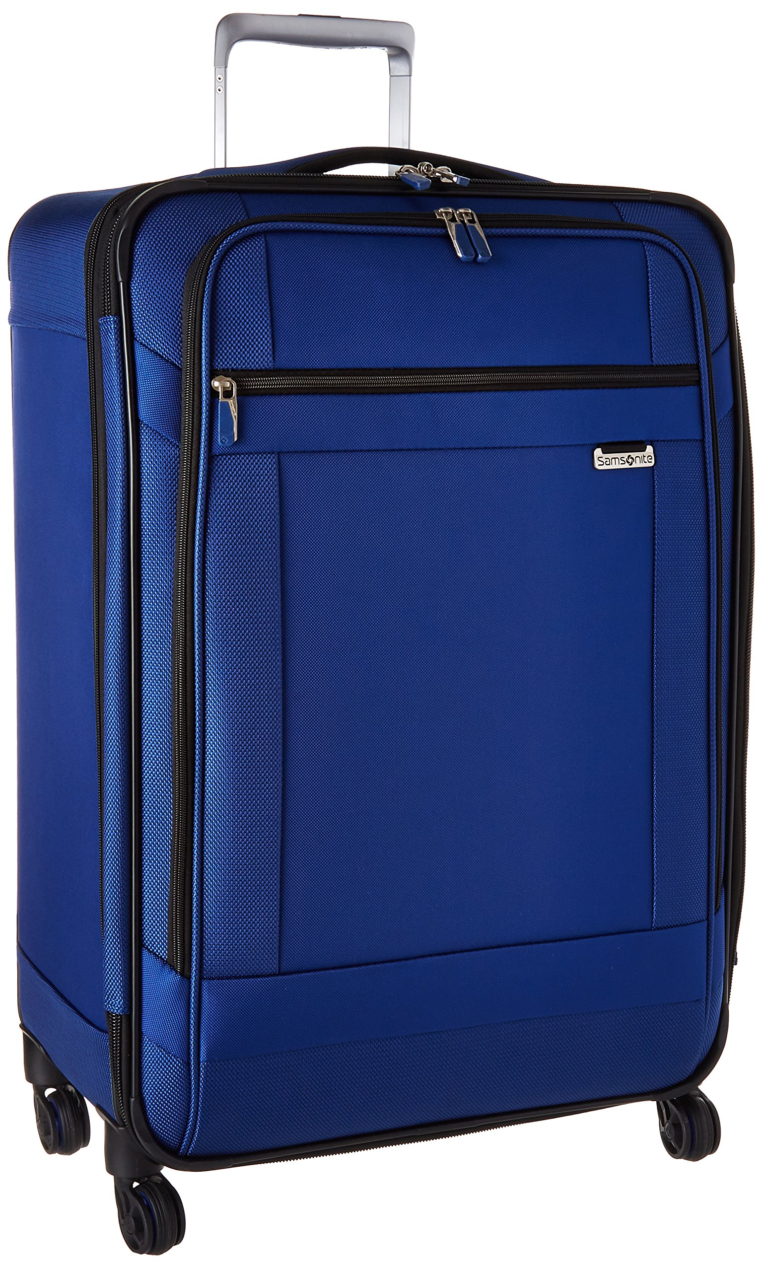 Solyte Softside Expandable Luggage with Spinner Wheels, True Blue, Checked-Medium 25-Inch