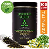 Teamonk Nilgiri Chamomile Green Tea for Relax and Calming, Stress Relief Tea, 100g (50 Cups) | 100% Natural Loose Leaf Tea with Natural Chamomile Flowers | Anicca Chamomile Green Herbal Tea