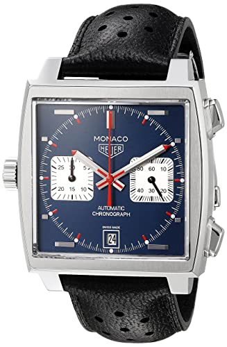TAG Heuer Men s Monaco Swiss Automatic Stainless Steel and Leather Dress Watch, Color Black Model CAW211P.FC6356