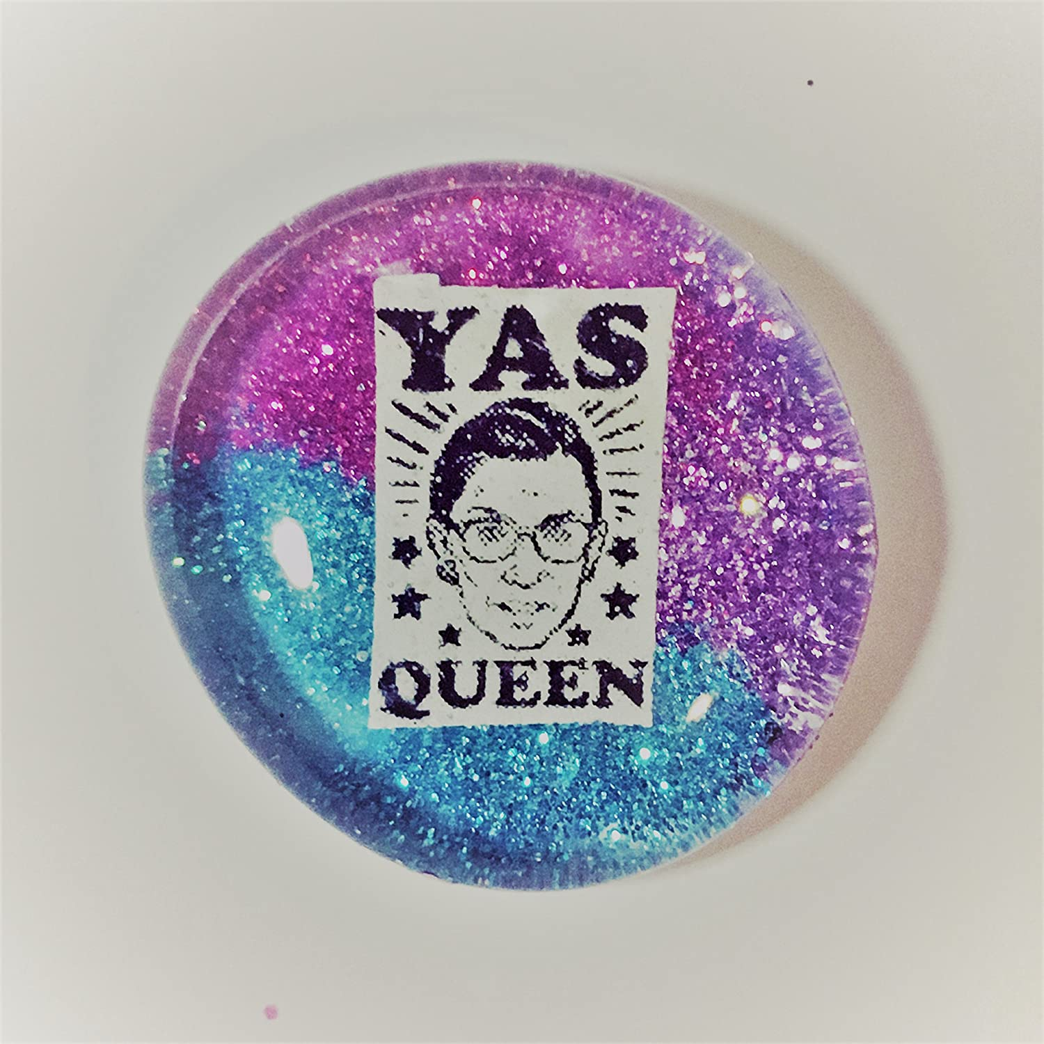 YAS QUEEN Ultra Sparkle Magenta and Blue 1.5 Pin Magnet