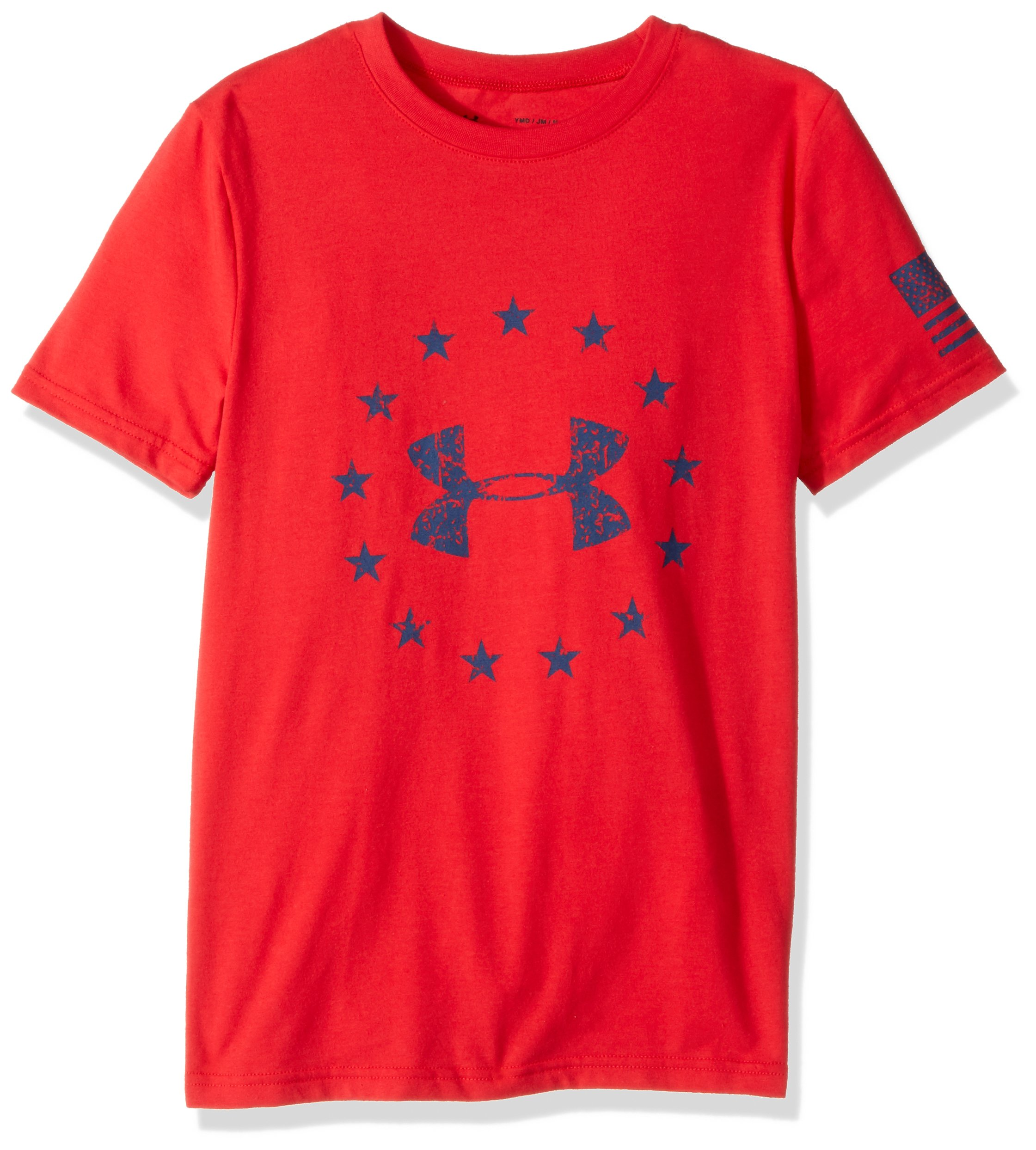 Under Armour Boys' Freedom Logo T-Shirt,Red (600)/Blackout Navy, Youth Large